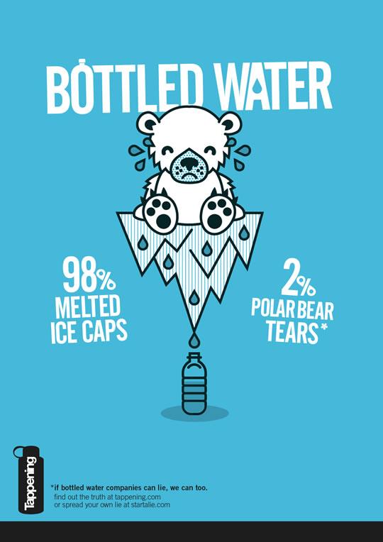 Bottled Water: 98% Melted Ice Caps. 2% Polar Bear Tears