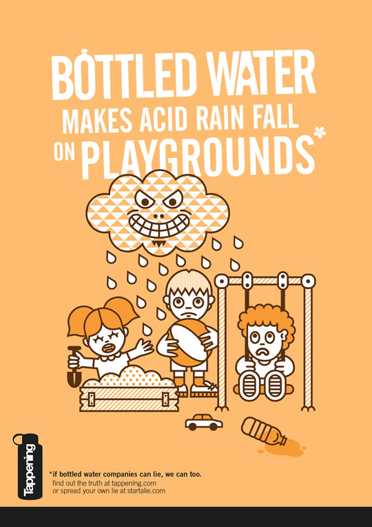 Bottled water makes acid rain fall on playgrounds