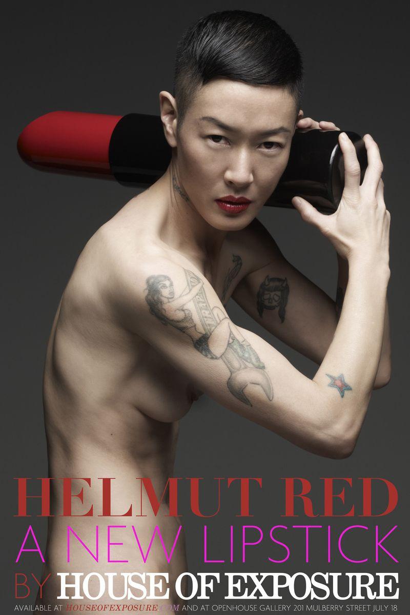 Jenny Shimizu shows off her lipstick