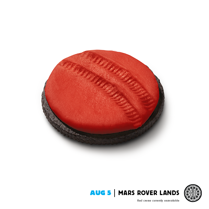 We come in peace. With Oreo cookies. August 5 Mars landing.