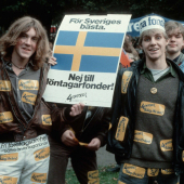 "4th october 1983, Sweden's at that point largest demonstration ever against ""löntagarfonder"""