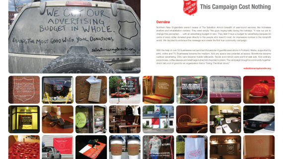 This Campaign Cost Nothing created by The VIA Group for The Salvation Army