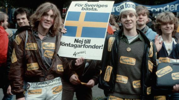 "4th october 1983, Sweden's at that point largest demonstration ever against ""löntagarfonder"""
