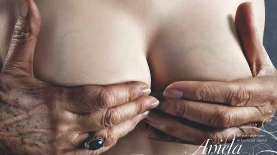 Aniela hand cupping breast ad